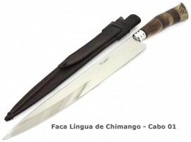 Faca Gaúcha Língua de Chimango, Bainha Couro - 11 pol.