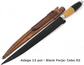 Faca Adaga Carbono Black Forja Bainha Couro - 12 Pol.