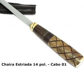 Chaira Cromo Vanádio Estriada de 14 Pol. c/ Capa Couro