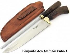 Conjunto p/ Churrasco: Faca, Chaira c/ Bainha Couro- 8 pol.