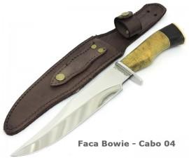 Faca Bowie Caça, Pesca Skinner Bainha Couro - 7 Pol.