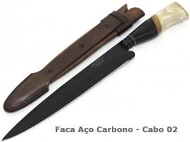 Faca Gaúcha Artesanal Carbono Black Forja - 9 pol.