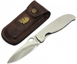 Canivete Artesanal Aço Cirúrgico - Inox c/ Capa Couro