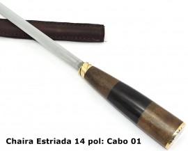 Chaira Estriada, Afiador Cromo Vanádio, Bainha Couro - 14 pol.