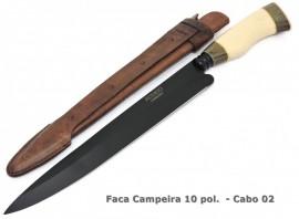Faca Gaúcha Forjada em Aço Carbono Black - 10 Pol.
